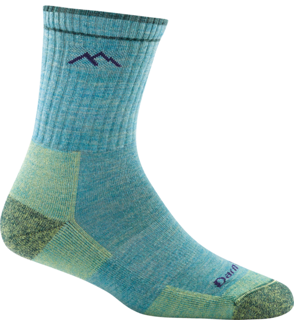 Women's Hiker Micro Crew Sock Cushion Aqua / Small Footwear Darn Tough - Hook 1 Outfitters/Kayak Fishing Gear
