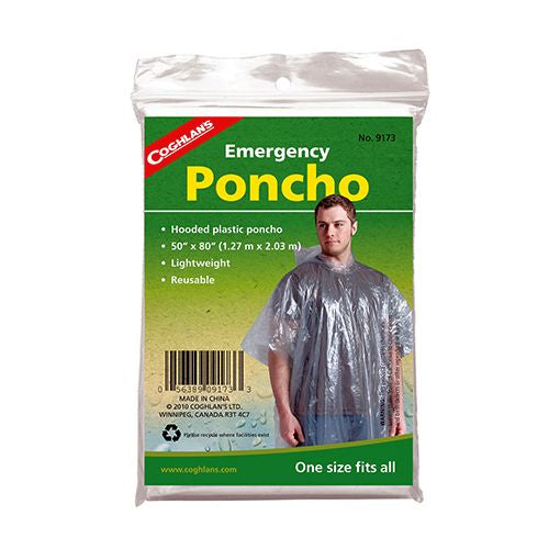 Coghlan's Emergency Poncho Clear   Survival Coghlan's - Hook 1 Outfitters/Kayak Fishing Gear