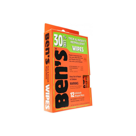 Ben's® Wipes 12 per box/12  Insect Repellent Ben's - Hook 1 Outfitters/Kayak Fishing Gear