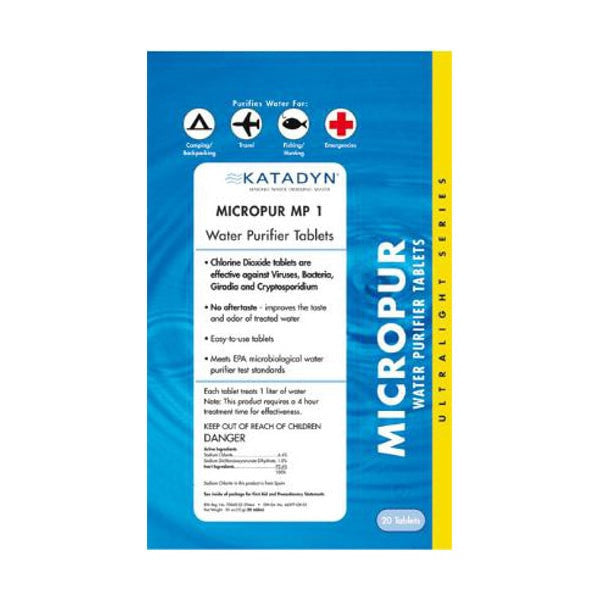 Micropur Purification Tablets 20 Pk (713740)   Water Purification Katadyn - Hook 1 Outfitters/Kayak Fishing Gear
