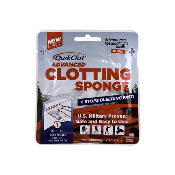 QuikClot Advanced Clotting Sponge 25g.  First Aid Adventure Medical Kit - Hook 1 Outfitters/Kayak Fishing Gear