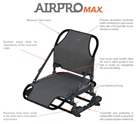 Wilderness Systems AirPro MAX SOT Seat Kit  Seats, Covers, and Accessories Wilderness Systems - Hook 1 Outfitters/Kayak Fishing Gear