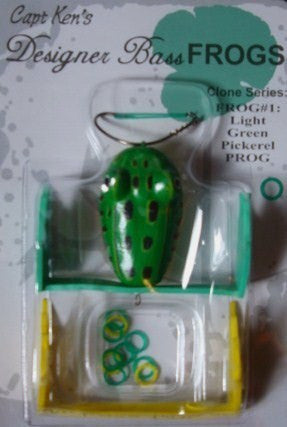 Captain Ken's Frog - Captain Ken's Frog - Light Green Pickerel  Frogs Capt Ken's Designer Bass Frogs - Hook 1 Outfitters/Kayak Fishing Gear