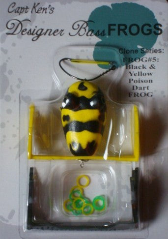Captain Ken's Frog - Captain Ken's Frog - Black and Yellow Poison Dart Frog  Frogs Capt Ken's Designer Bass Frogs - Hook 1 Outfitters/Kayak Fishing Gear