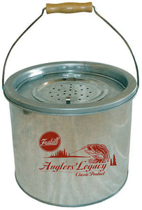 Frabill Galvanized Bait Bucket - 8Qt 2Pc Floating  Bait Containers/Aeration Frabill - Hook 1 Outfitters/Kayak Fishing Gear