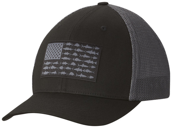 COLUMBIA MESH™ BALLCAP BLACK / FISH FLAG  Hats Columbia - Hook 1 Outfitters/Kayak Fishing Gear
