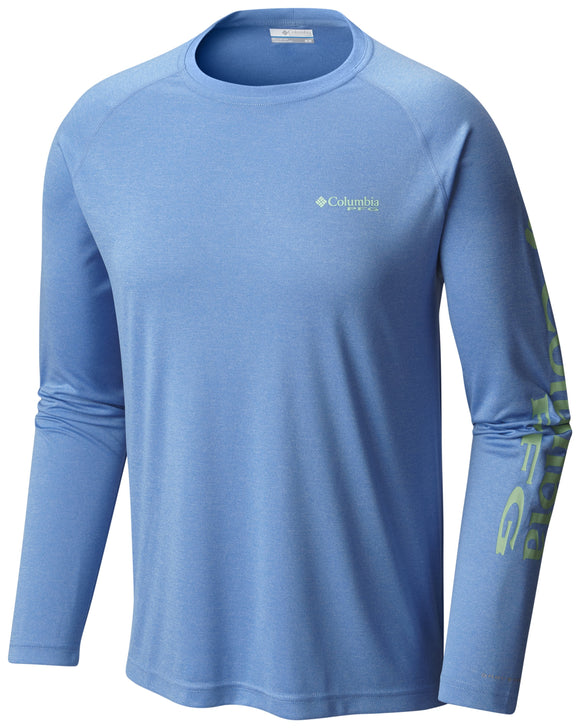 Terminal Tackle™ Heather LS Shirt - CLOSEOUT Harbor Blue Heather - CLOSEOUT / M Tops Columbia - Hook 1 Outfitters/Kayak Fishing Gear