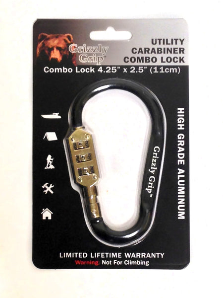 Grizzly Grip Carabiner - Combo Lock Aluminum Black
