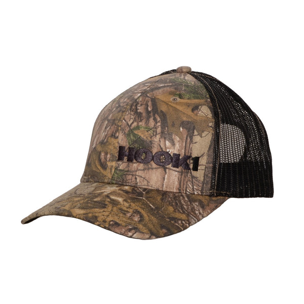 HOOK 1 Hat - Camo Structured Mesh Back Hat with Embroidered Black Off-set Logo  Hats HOOK 1 - Hook 1 Outfitters/Kayak Fishing Gear