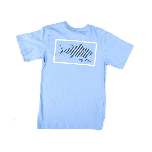 HEYBO PREP STRIPE LIGHT BLUE SHORT SLEEVE T-SHIRT  Tops HEYBO - Hook 1 Outfitters/Kayak Fishing Gear