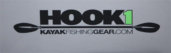 "HOOK 1 Sticker - Paddle Design - (12.5"" x 2.5"")  Accessories HOOK 1 - Hook 1 Outfitters/Kayak Fishing Gear"