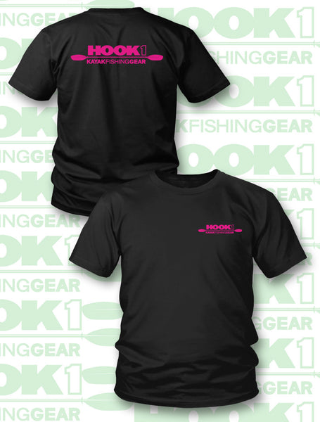 HOOK 1 SHORT SLEEVE T-SHIRT HOT PINK AND BLACK  Apparel HOOK 1 - Hook 1 Outfitters/Kayak Fishing Gear