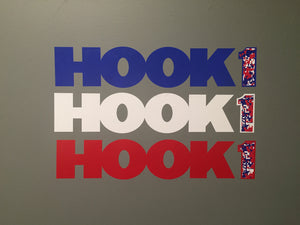 "HOOK 1 - RED/WHITE/BLUE - Digital Camo Logo Sticker / Decal - 17.5"" X 3""  Accessories HOOK 1 - Hook 1 Outfitters/Kayak Fishing Gear"