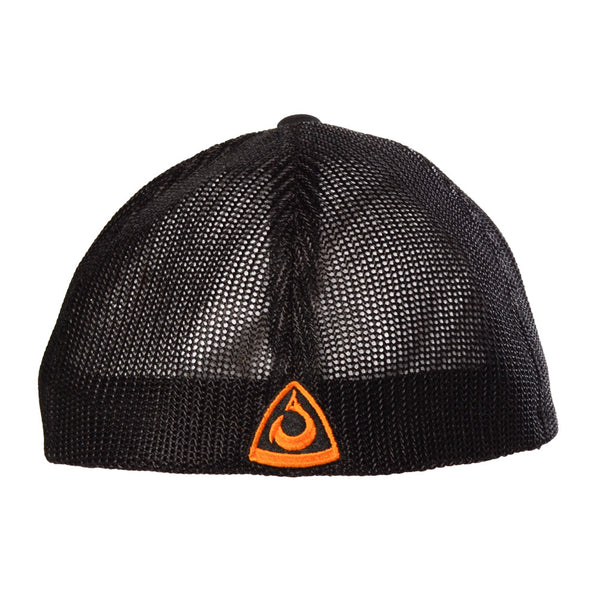 CLOSEOUT: HOOK 1 Hat - Black Structured FlexFit Baseball Cap with Orange Off-set Logo