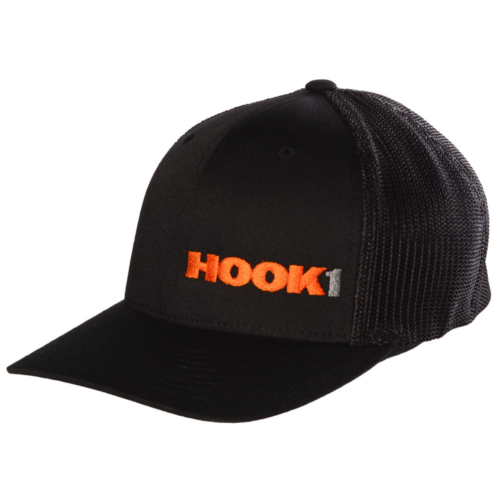 Closeout Hook 1 Hat Black Structured Flexfit Baseball