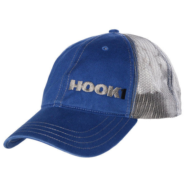 HOOK 1 Hat - Grey Mesh-back Unstructured Blue Baseball Cap with Off-set HOOK 1 Logo  Hats HOOK 1 - Hook 1 Outfitters/Kayak Fishing Gear