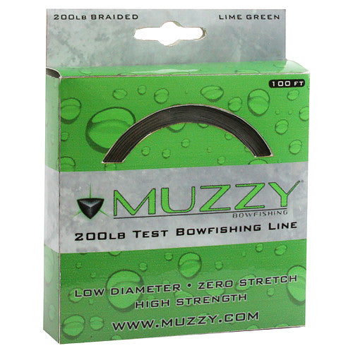 Muzzy Bowfishing Line - 200# Braided Lime Green 100Ft  Bowfishing Muzzy Archery - Hook 1 Outfitters/Kayak Fishing Gear