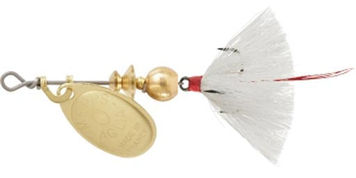 Mepps Dressed Aglia - 1/12Oz Gold White  Lures - Spinnerbaits/Buzzbaits Mepps / Sheldon'S - Hook 1 Outfitters/Kayak Fishing Gear