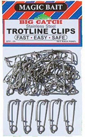 Magic Bait Trotline Clips - Snap-Stainless 25Pk (777-12)  Line - Lead Core/Fnsh/Trotline Magic Bait - Hook 1 Outfitters/Kayak Fishing Gear