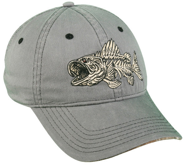 Outdoor Cap 6-Panel Cap - Bonefish/Bass Grey 1-Sz  Clothing/Footwear - Fishing Outdoor Cap - Hook 1 Outfitters/Kayak Fishing Gear