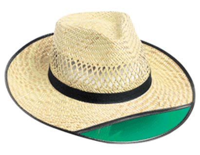Outdoor Cap Straw Hat W/Visor - 1-Size W/Tinted Green Visor 12/Pk  Clothing/Footwear - Fishing Outdoor Cap - Hook 1 Outfitters/Kayak Fishing Gear