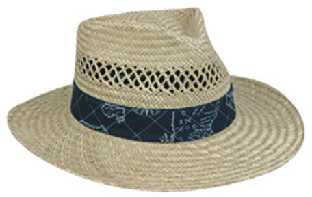 Outdoor Cap Straw Hat-Lindu - 1-Size Nautical Print Bands  Clothing/Footwear - Fishing Outdoor Cap - Hook 1 Outfitters/Kayak Fishing Gear
