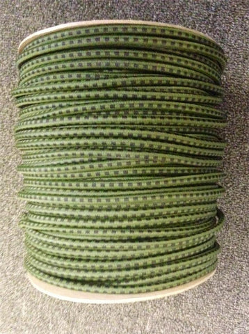 "Bungee / Shock Cord 1/4"" - Olive W/Black"