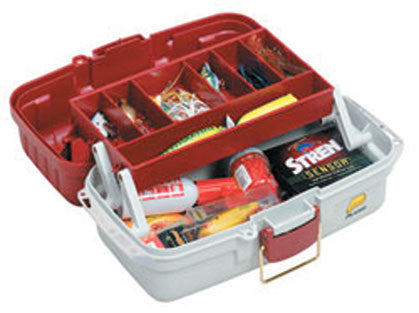 Plano Tackle Box - 1 Tray Red & White  Tackle Boxes/Bags Plano Molding - Hook 1 Outfitters/Kayak Fishing Gear