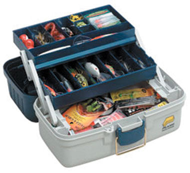 Plano Tackle Box - 2 Tray Blue Met/Off White  Tackle Boxes/Bags Plano Molding - Hook 1 Outfitters/Kayak Fishing Gear