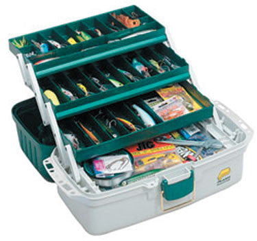 Plano Tackle Box - 3 Tray Green & White  Tackle Boxes/Bags Plano Molding - Hook 1 Outfitters/Kayak Fishing Gear