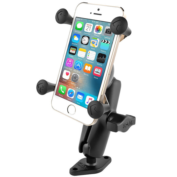"RAM 1"" Ball Mount with Diamond Base & Universal X-Grip® Cell/iPhone Cradle  Depthfinder and Electronics Mounts RAM - Hook 1 Outfitters/Kayak Fishing Gear"
