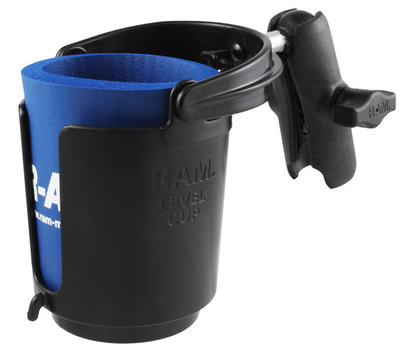 RAM Level Cup™ Drink Holder with Koozie & Double Socket Arm  Outfitting and Rigging RAM - Hook 1 Outfitters/Kayak Fishing Gear