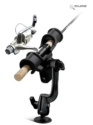 RAM-ROD™ Light-Speed™ Holder with RAM-ROD™ Revolution Ratchet/Socket System and Round Flat Surface Base  Rod Holder RAM - Hook 1 Outfitters/Kayak Fishing Gear