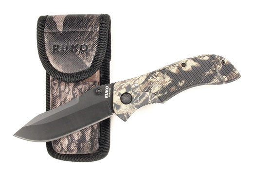 Ruko Knife - Camo Non Slip Handle Folding K  Cutlery/Tools Ruko - Hook 1 Outfitters/Kayak Fishing Gear