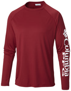 MEN'S PFG TERMINAL TACKLE™ LONG SLEEVE TEE - CLOSEOUT Beet / M Tops Columbia - Hook 1 Outfitters/Kayak Fishing Gear