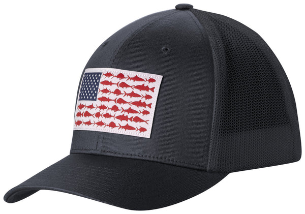 PFG MESH™ BALL CAP COLLEGIATE NAVY / FISH FLAG  Hats Columbia - Hook 1 Outfitters/Kayak Fishing Gear