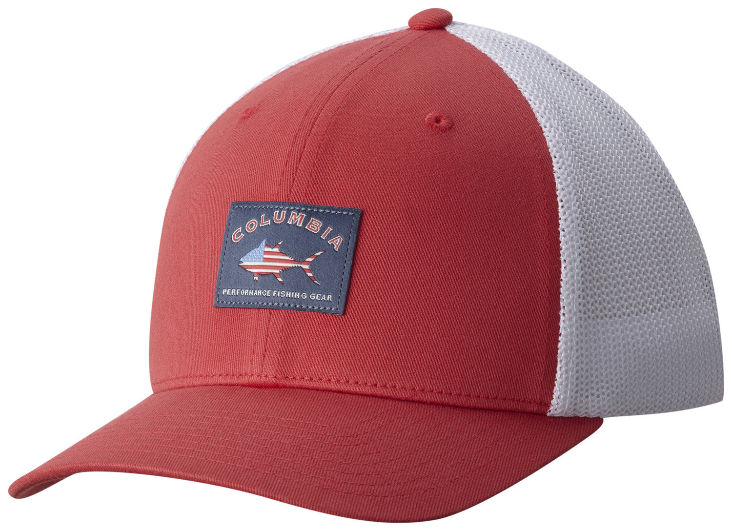 10a3bed134f0f PFG MESH™ BALL CAP SUNSET RED   BASS FLAG Hats Columbia - Hook 1 Outfitters