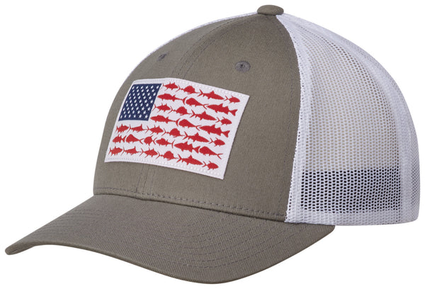 PFG MESH SNAP BACK™ BALL CAP TITANIUM / FISH FLAG  Hats Columbia - Hook 1 Outfitters/Kayak Fishing Gear