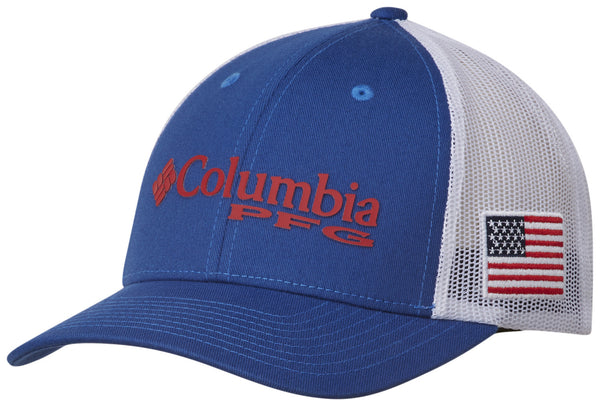 PFG MESH SNAP BACK™ BALL CAP MOUNTAIN BLUE / USA FLAG  Hats Columbia - Hook 1 Outfitters/Kayak Fishing Gear