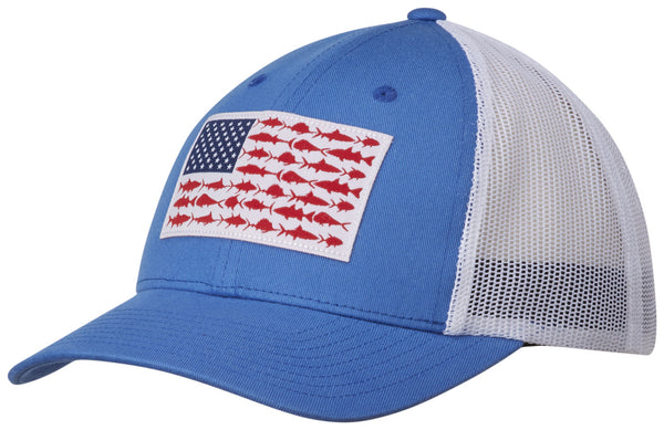 PFG MESH SNAP BACK™ BALL CAP VIVID BLUE / FISH FLAG  Hats Columbia - Hook 1 Outfitters/Kayak Fishing Gear