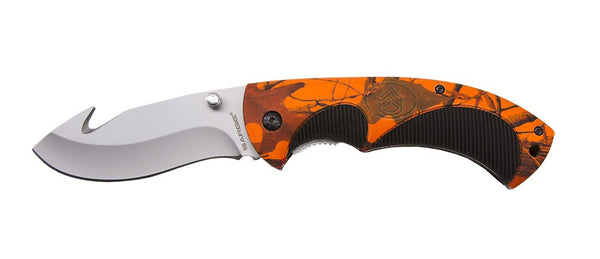 Sarge Folding Knife Lockback - Hi-Vis Camo Folding Gut Hook  Cutlery/Tools Sarge Knives - Hook 1 Outfitters/Kayak Fishing Gear