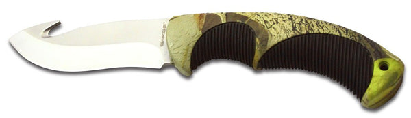 Sarge Fixed Blade Knife - Camo Gut Hook W/Sheath  Cutlery/Tools Sarge Knives - Hook 1 Outfitters/Kayak Fishing Gear