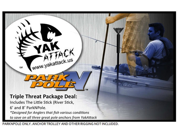 YakAttack ParkNPole Floating Stakeout/Push Pole Triple Threat Combo Package  Anchoring and Accessories YakAttack - Hook 1 Outfitters/Kayak Fishing Gear