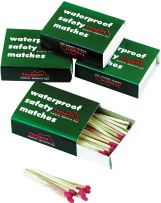 Texsport Matches W/Proof - 4 Boxes Per Poly Bag  Camping Texsport - Hook 1 Outfitters/Kayak Fishing Gear