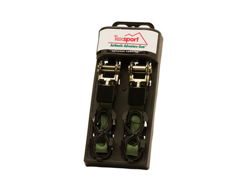 Texsport Ratchet Tie Downs - 2/Pk 1In X 15Ft Olive Green