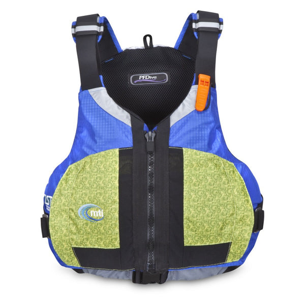 MTI Adventurewear PFDiva - CLOSEOUT SM/MD / FRACTAL GREEN/BLUE RIPSTOP Life Jackets - PFDs and FLOTATION MTI Adventurewear - Hook 1 Outfitters/Kayak Fishing Gear