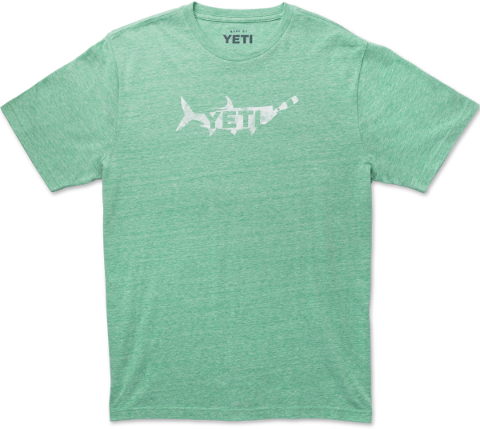 Drink Fish MW Tri Short Sleeve Green Heather  Apparel Yeti - Hook 1 Outfitters/Kayak Fishing Gear