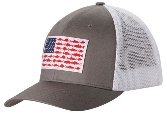 PFG MESH™ BALL CAP TITANIUM / FISH FLAG  Hats Columbia - Hook 1 Outfitters/Kayak Fishing Gear