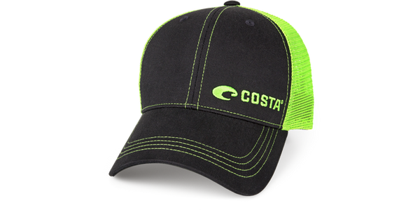 Neon Trucker Graphite Twill - Neon Green  Hats Costa - Hook 1 Outfitters/Kayak Fishing Gear