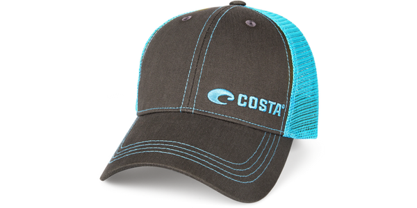 Neon Trucker Graphite Twill - Neon Blue  Hats Costa - Hook 1 Outfitters/Kayak Fishing Gear